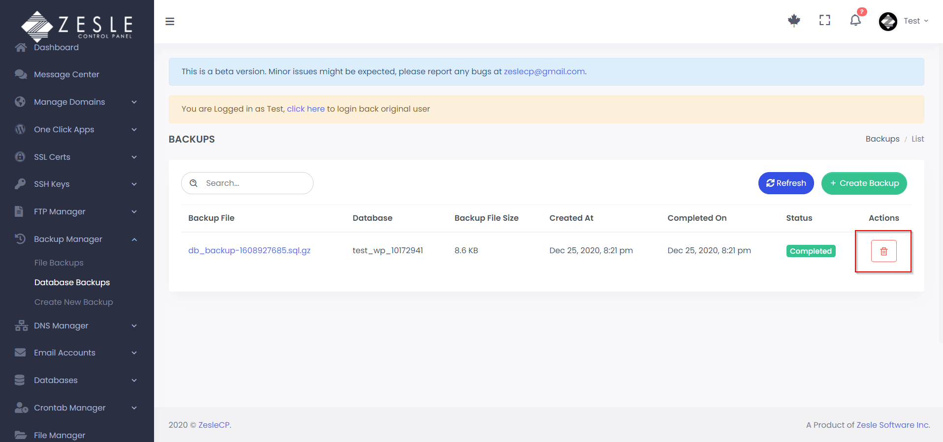 Delete database backup using ZesleCP