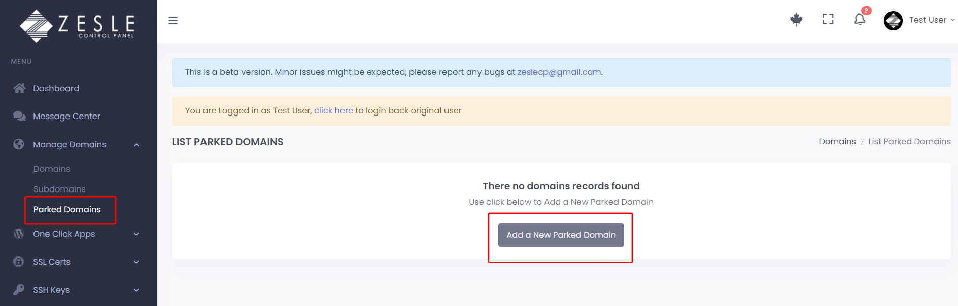 Add parked domain with ZesleCP