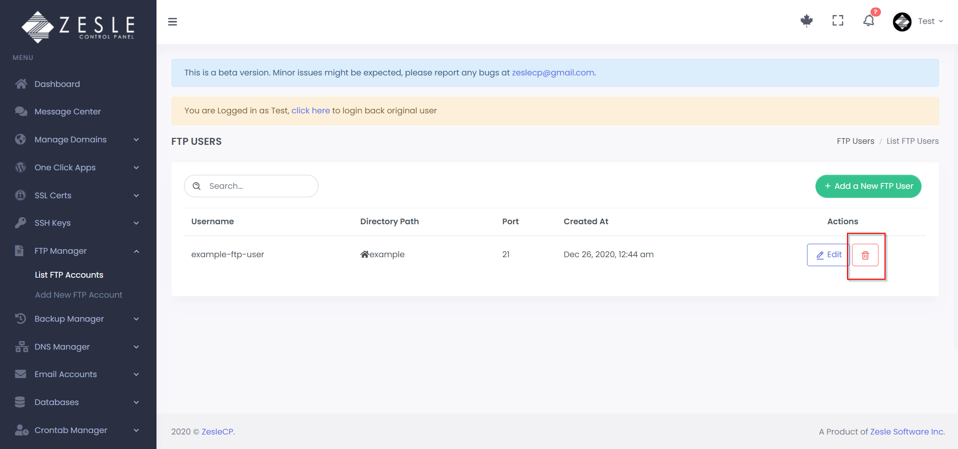 Delete FTP user with ZesleCP