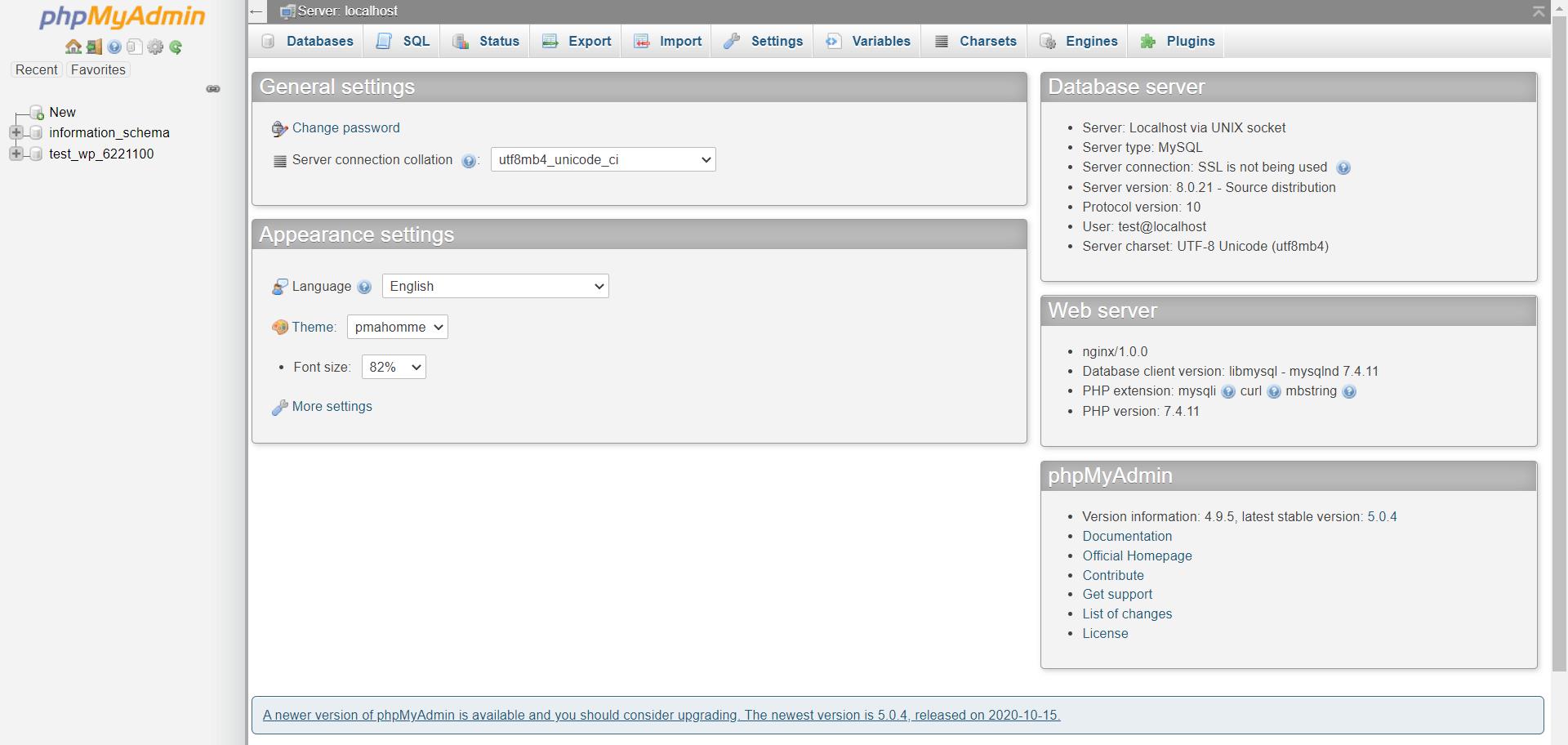 Access phpMyAdmin using ZesleCP