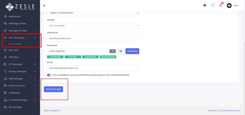 Install WordPress with ZesleCP
