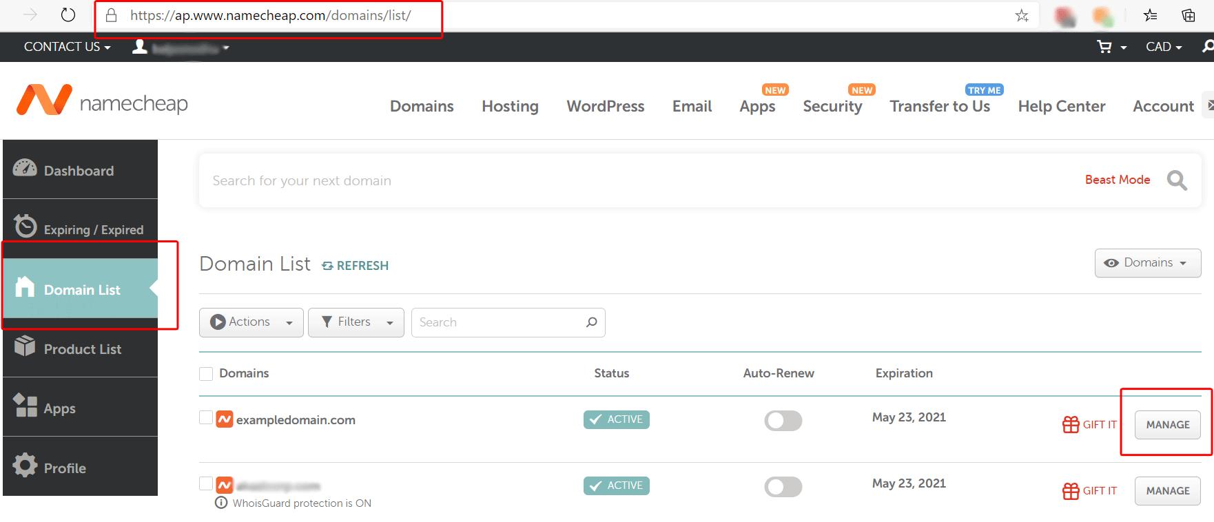 Custom nameservers setup with ZesleCP. Namecheap example step 1