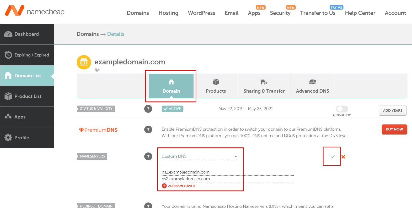 Custom nameservers setup with ZesleCP. Namecheap example step 2