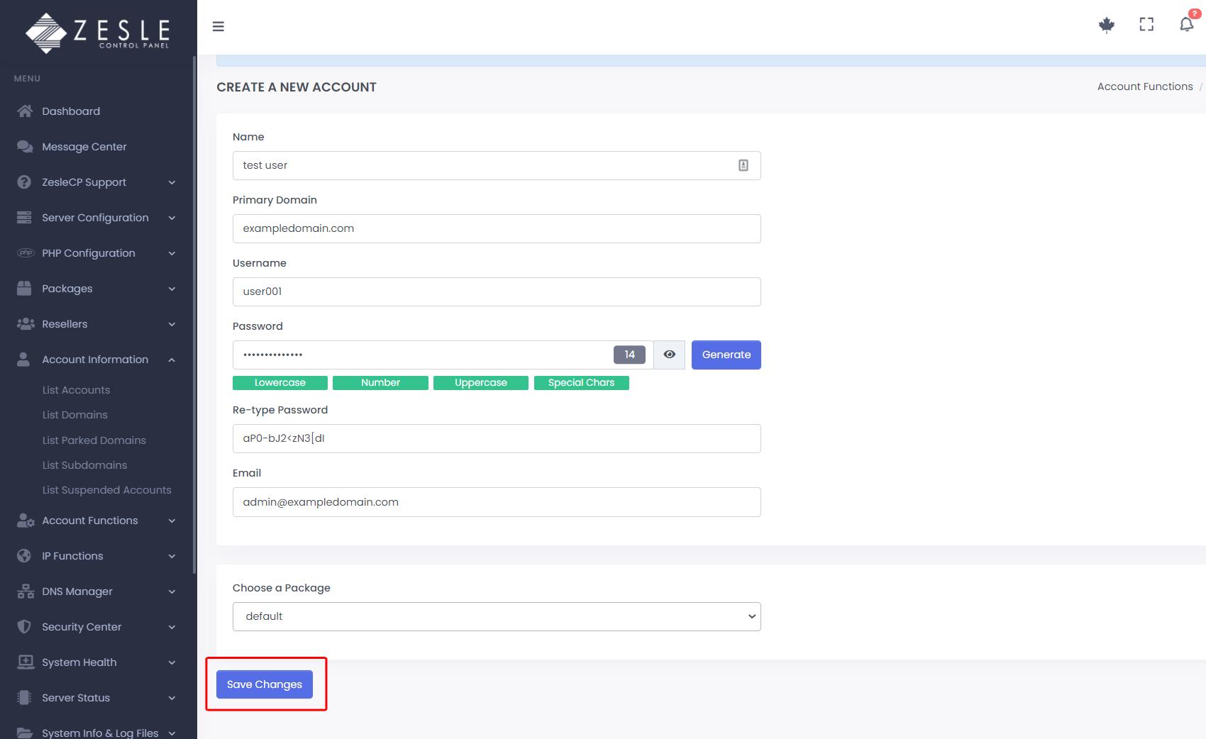 Create user account using ZesleCP